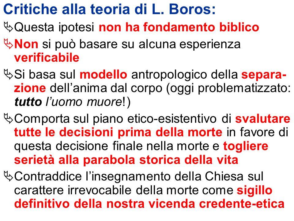 Critiche alla teoria di L. Boros: