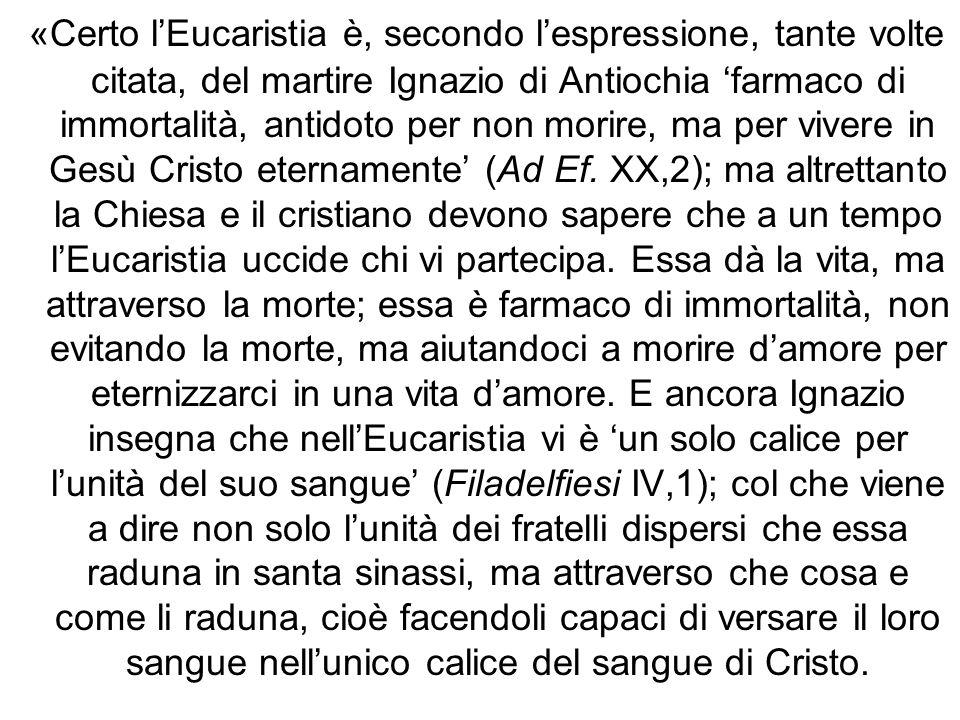 «Certo l'Eucaristia è, secondo l'espressione, tante volte citata, del martire Ignazio di Antiochia 'farmaco di immortalità, antidoto per non morire, ma per vivere in Gesù Cristo eternamente' (Ad Ef.