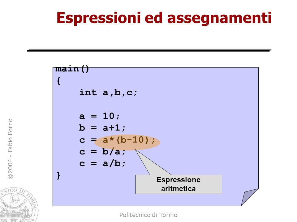 Espressioni ed assegnamenti