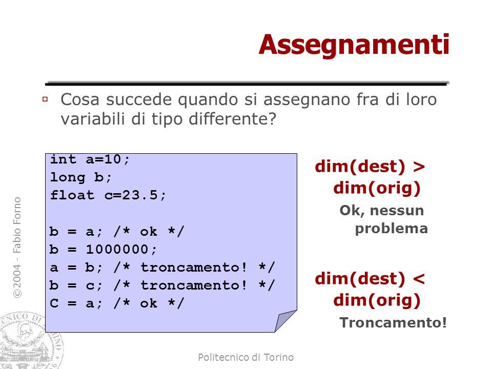 Assegnamenti Cosa succede quando si assegnano fra di loro variabili di tipo differente int a=10; long b;