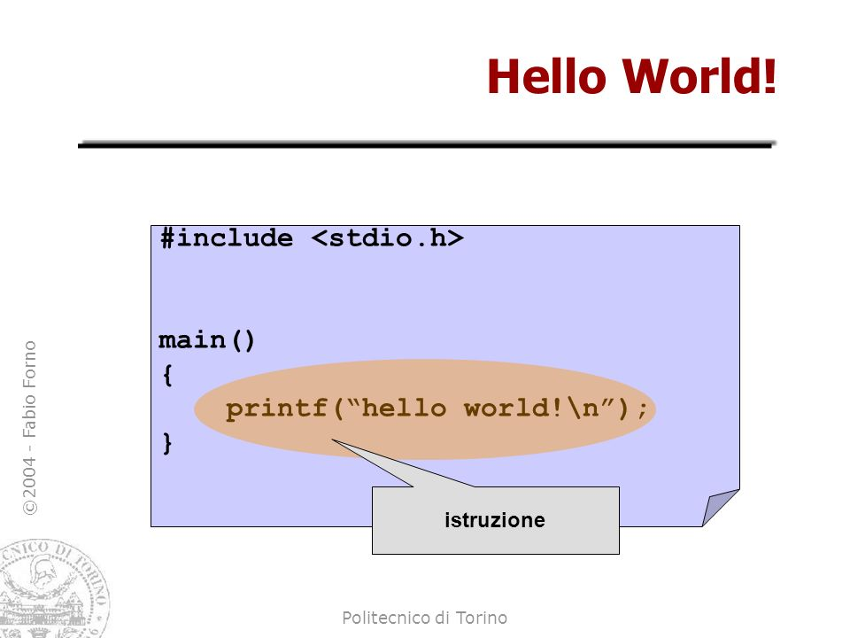 Hello World! #include <stdio.h> main() {