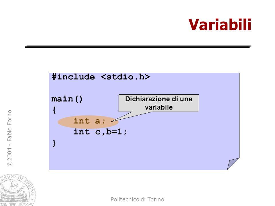 Dichiarazione di una variabile