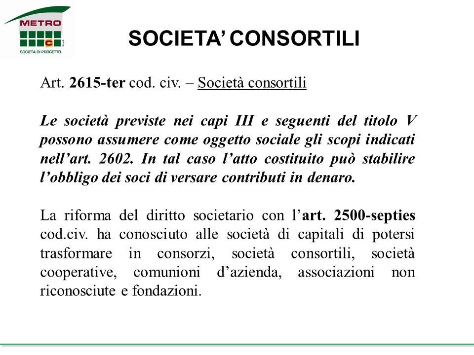 SOCIETA' CONSORTILI Art. 2615-ter cod. civ. – Società consortili