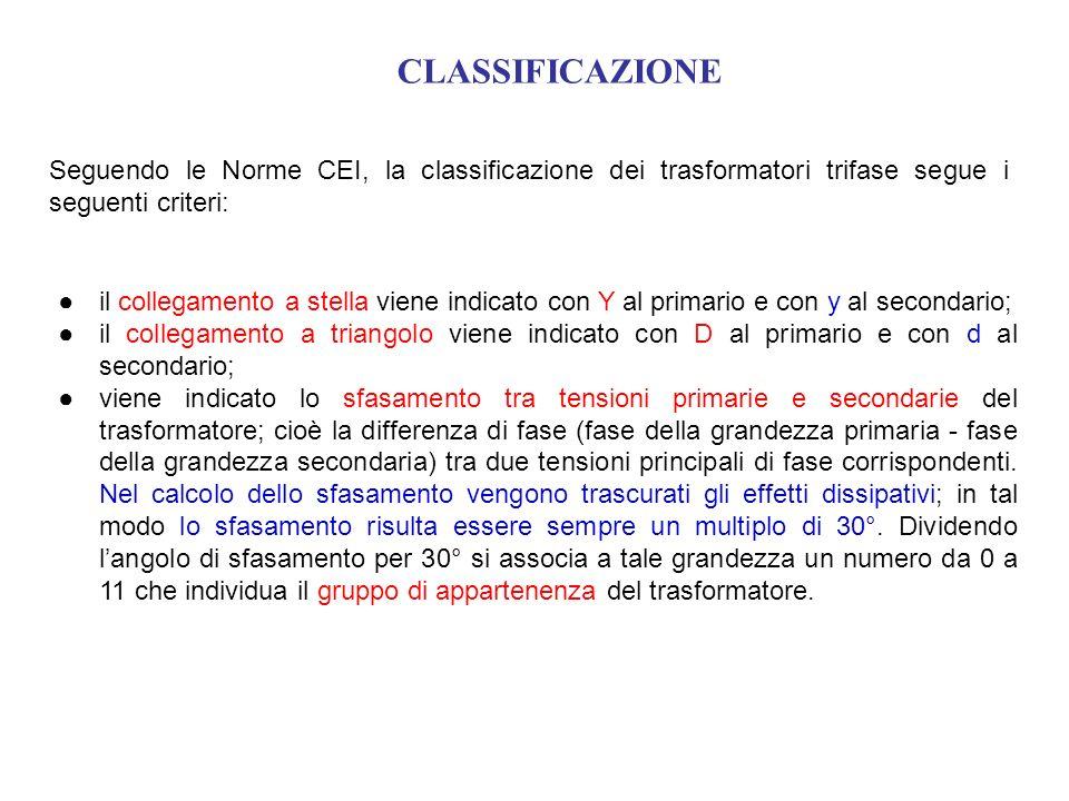 CLASSIFICAZIONE Seguendo le Norme CEI, la classificazione dei trasformatori trifase segue i seguenti criteri: