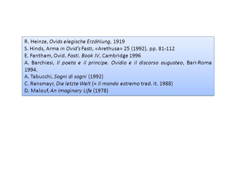 R. Heinze, Ovids elegische Erzählung, 1919