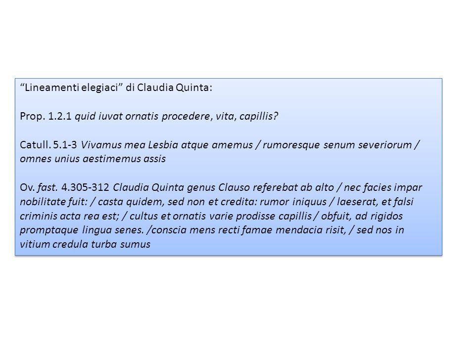 Lineamenti elegiaci di Claudia Quinta: