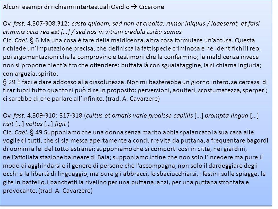 Alcuni esempi di richiami intertestuali Ovidio  Cicerone