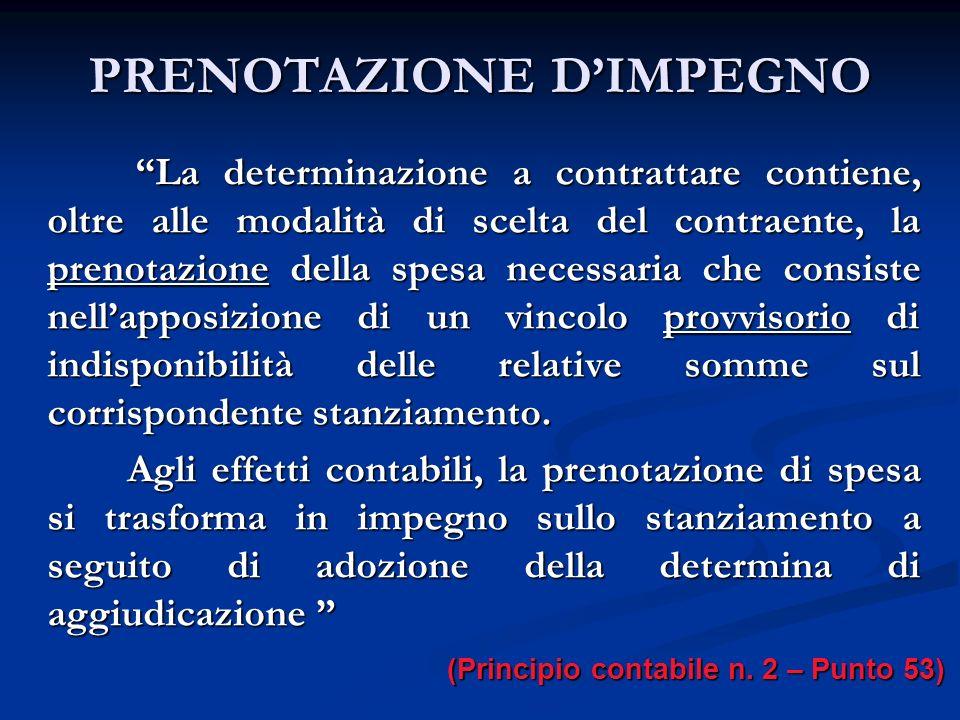 PRENOTAZIONE D'IMPEGNO