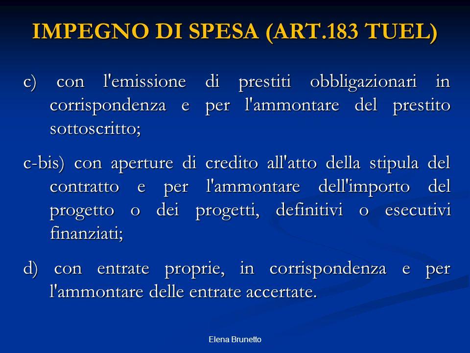 IMPEGNO DI SPESA (ART.183 TUEL)