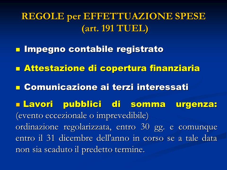 REGOLE per EFFETTUAZIONE SPESE (art. 191 TUEL)