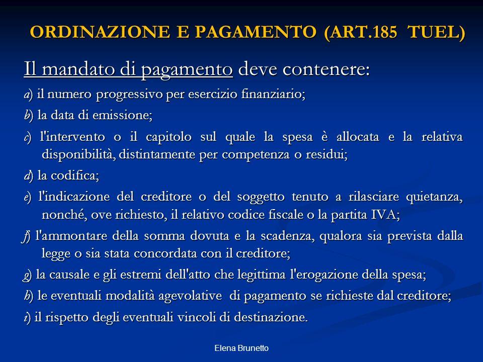 ORDINAZIONE E PAGAMENTO (ART.185 TUEL)
