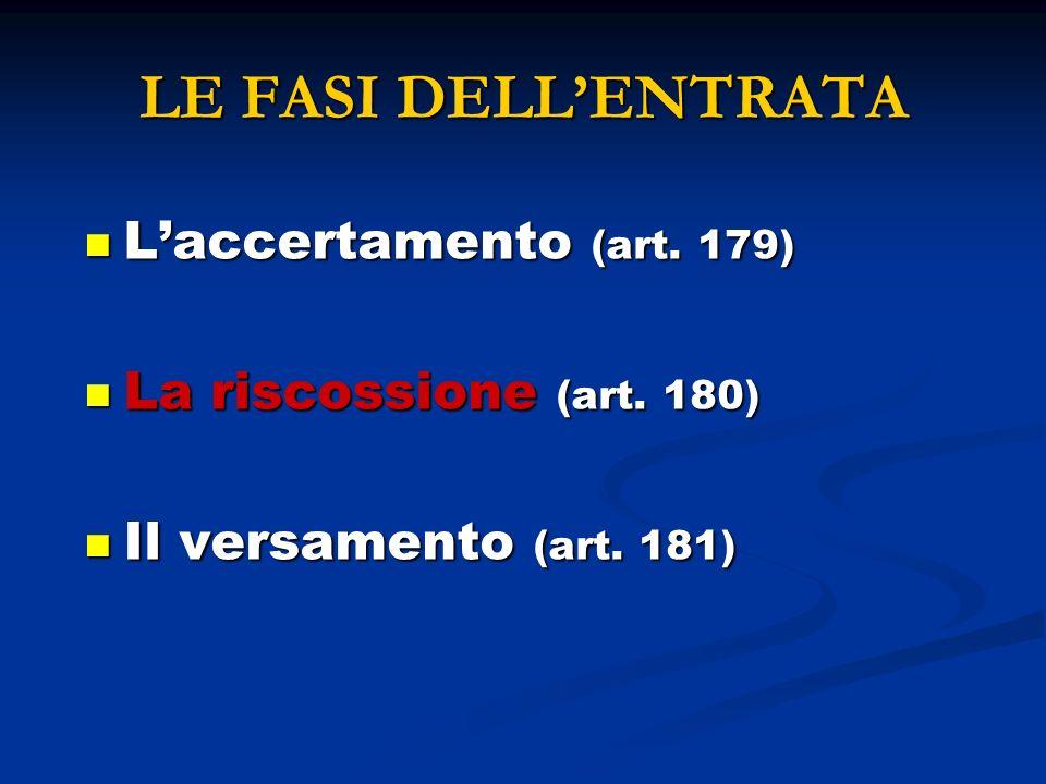 LE FASI DELL'ENTRATA L'accertamento (art. 179)