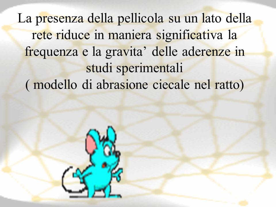 La presenza della pellicola su un lato della rete riduce in maniera significativa la frequenza e la gravita' delle aderenze in studi sperimentali ( modello di abrasione ciecale nel ratto)