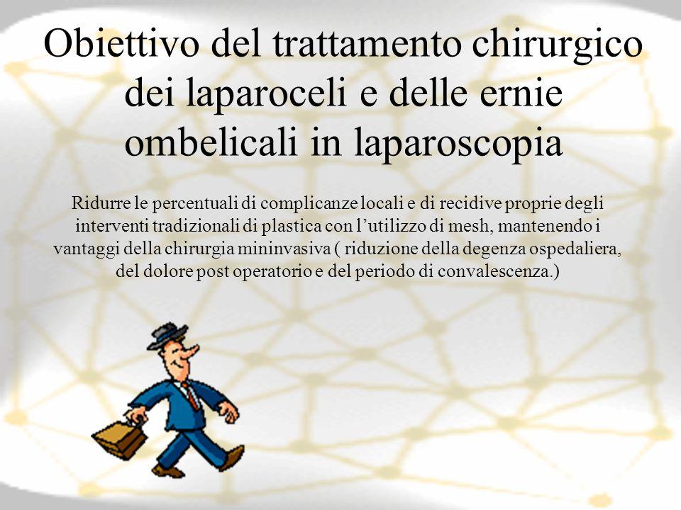Obiettivo del trattamento chirurgico dei laparoceli e delle ernie ombelicali in laparoscopia
