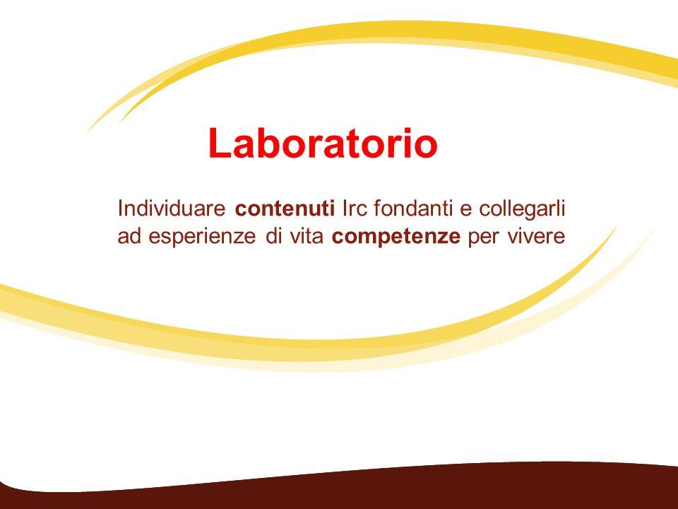 Laboratorio Individuare contenuti Irc fondanti e collegarli ad esperienze di vita competenze per vivere.