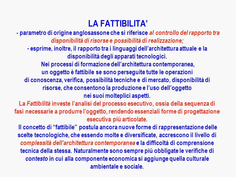 LA FATTIBILITA' - parametro di origine anglosassone che si riferisce al controllo del rapporto tra disponibilità di risorse e possibilità di realizzazione; - esprime, inoltre, il rapporto tra i linguaggi dell'architettura attuale e la disponibilità degli apparati tecnologici.