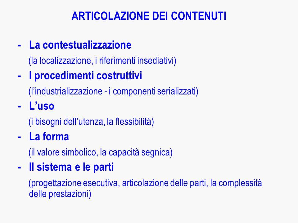 ARTICOLAZIONE DEI CONTENUTI
