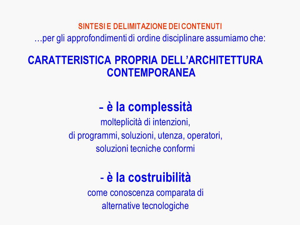 CARATTERISTICA PROPRIA DELL'ARCHITETTURA CONTEMPORANEA
