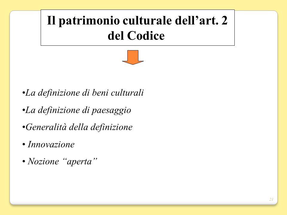 Il patrimonio culturale dell'art. 2