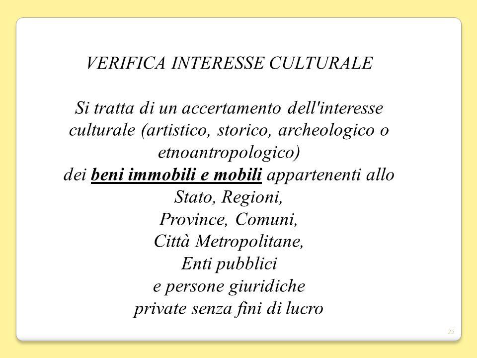 VERIFICA INTERESSE CULTURALE