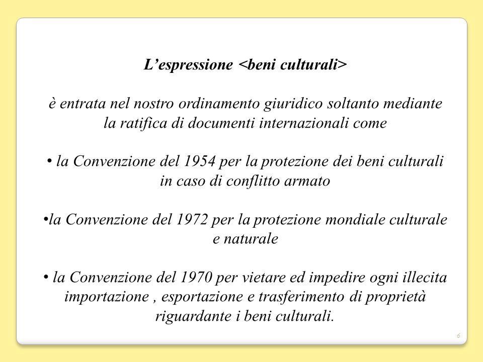 L'espressione <beni culturali>