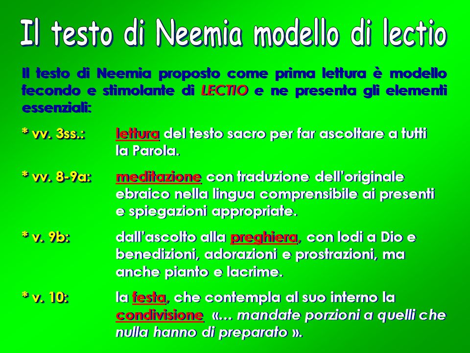 Il testo di Neemia modello di lectio