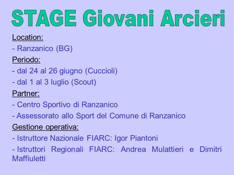 STAGE Giovani Arcieri Location: Ranzanico (BG) Periodo: