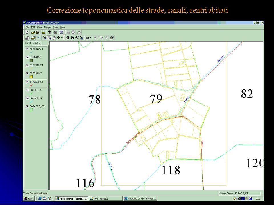 Correzione toponomastica delle strade, canali, centri abitati