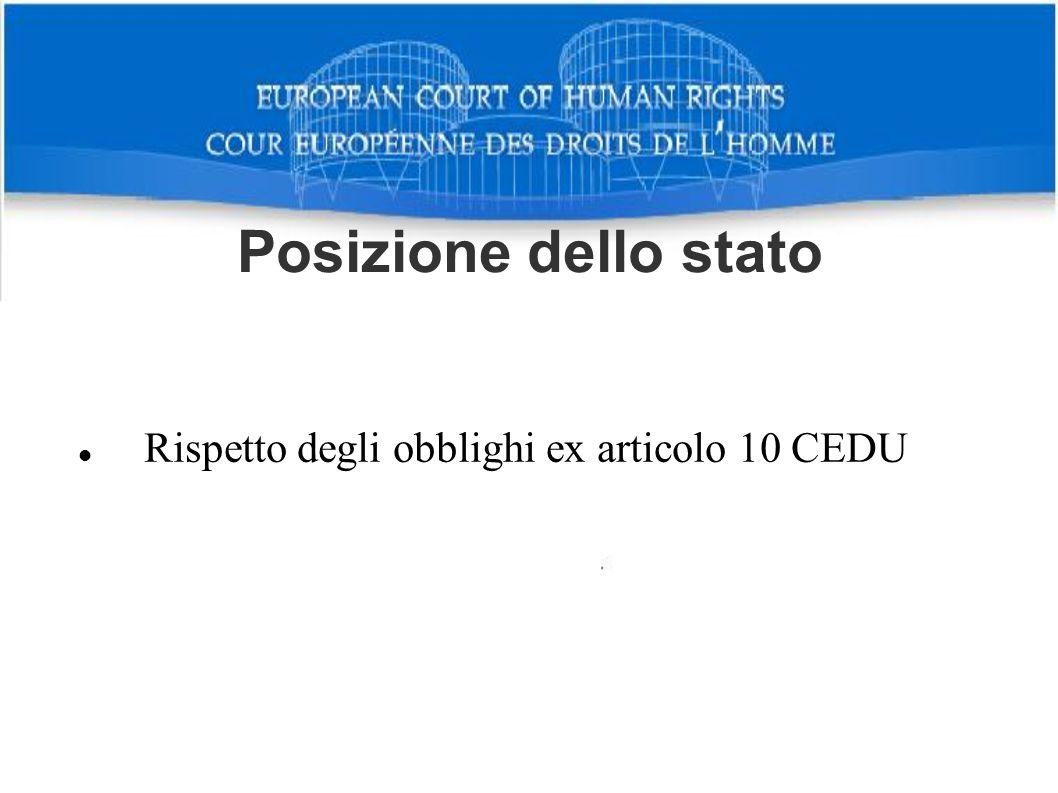 Rispetto degli obblighi ex articolo 10 CEDU