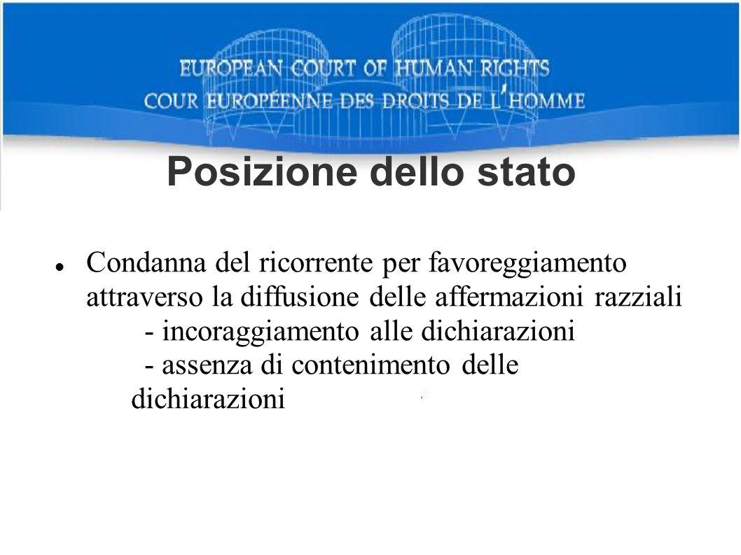 Posizione dello stato Condanna del ricorrente per favoreggiamento attraverso la diffusione delle affermazioni razziali.