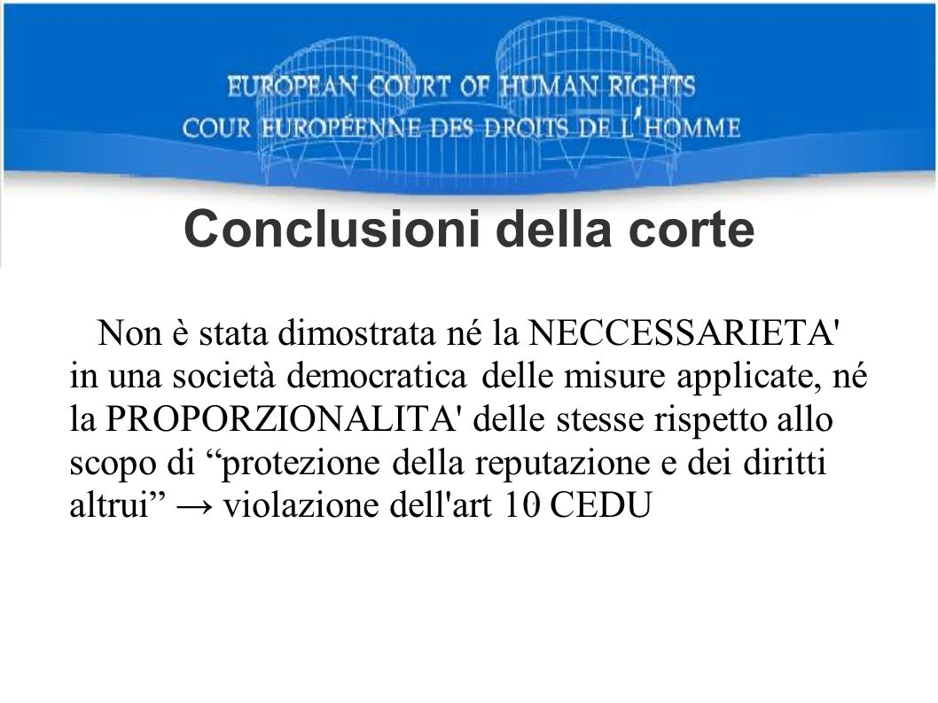 Conclusioni della corte