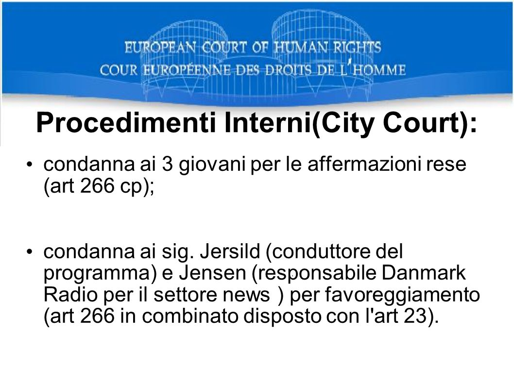 Procedimenti Interni(City Court):