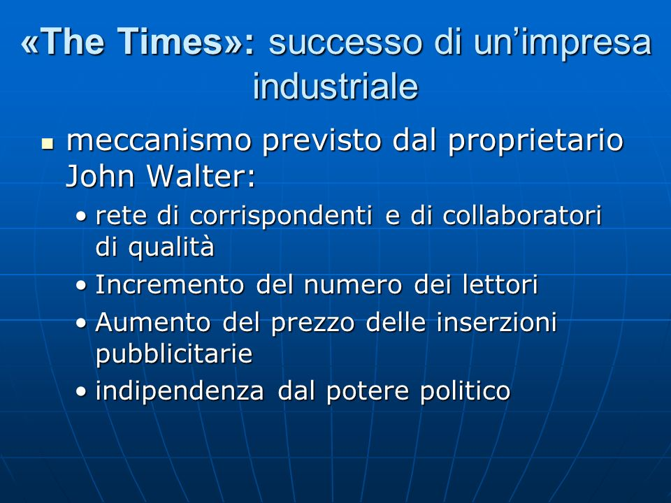 «The Times»: successo di un'impresa industriale