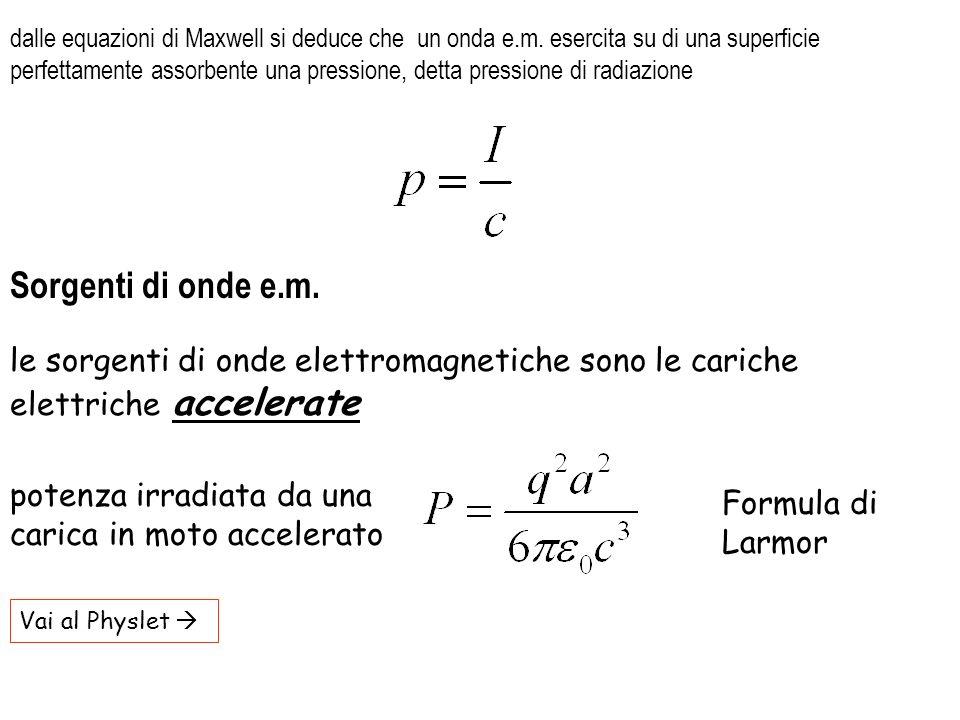 dalle equazioni di Maxwell si deduce che un onda e. m
