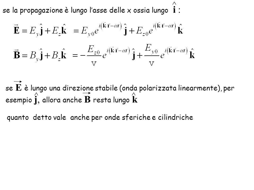 ^ ^ se la propagazione è lungo l'asse delle x ossia lungo i :