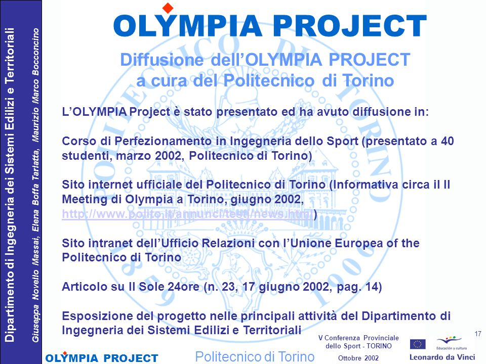 OLYMPIA PROJECT Diffusione dell'OLYMPIA PROJECT