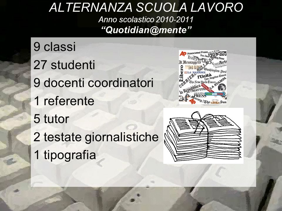 ALTERNANZA SCUOLA LAVORO Anno scolastico 2010-2011 Quotidian@mente
