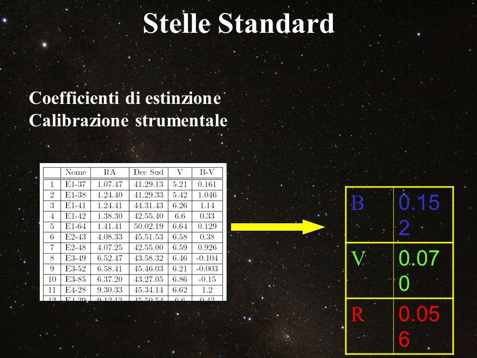 Stelle Standard B 0.152 V 0.070 R 0.056 Coefficienti di estinzione