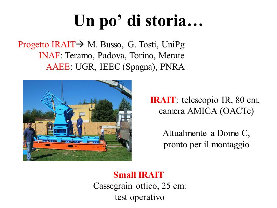 Un po' di storia… Progetto IRAIT M. Busso, G. Tosti, UniPg