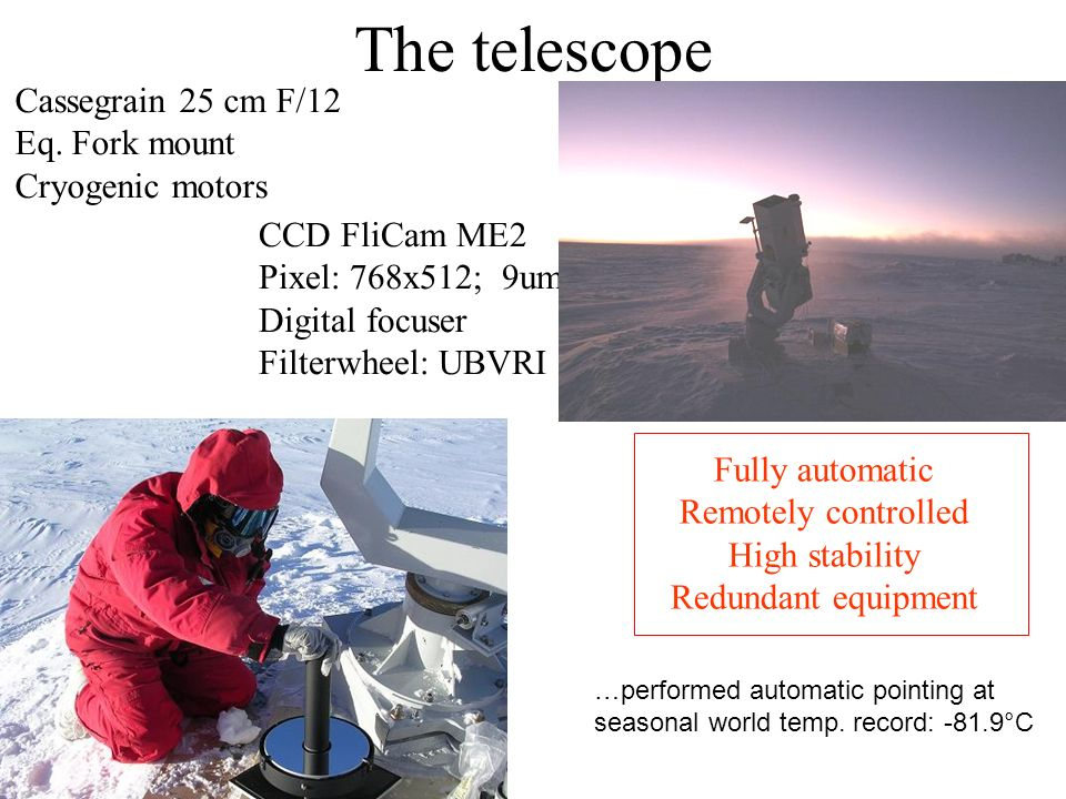 The telescope Cassegrain 25 cm F/12 Eq. Fork mount Cryogenic motors