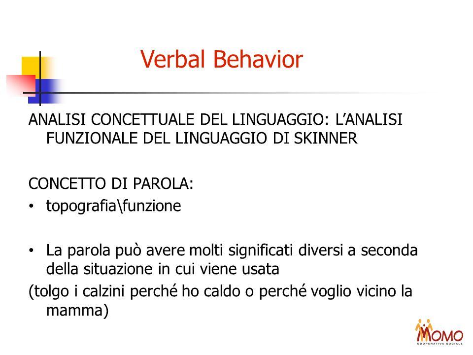 Verbal BehaviorANALISI CONCETTUALE DEL LINGUAGGIO: L'ANALISI FUNZIONALE DEL LINGUAGGIO DI SKINNER.