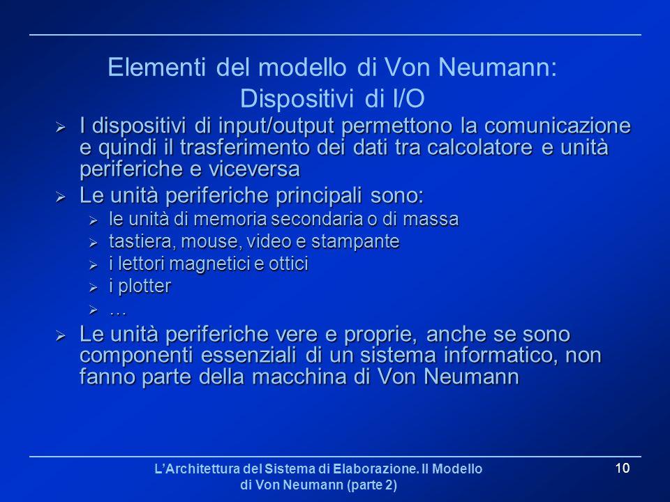 Elementi del modello di Von Neumann: Dispositivi di I/O