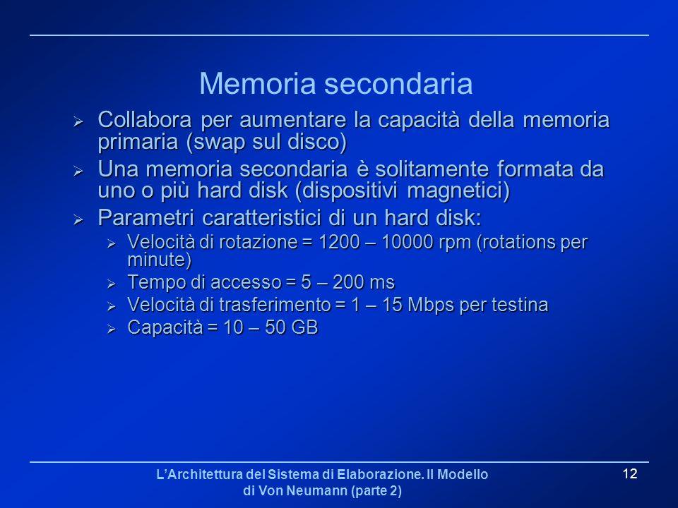Memoria secondaria Collabora per aumentare la capacità della memoria primaria (swap sul disco)