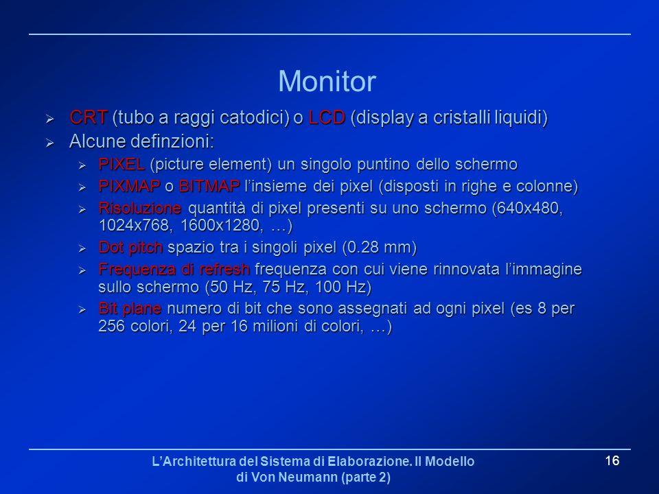 MonitorCRT (tubo a raggi catodici) o LCD (display a cristalli liquidi) Alcune definzioni: PIXEL (picture element) un singolo puntino dello schermo.