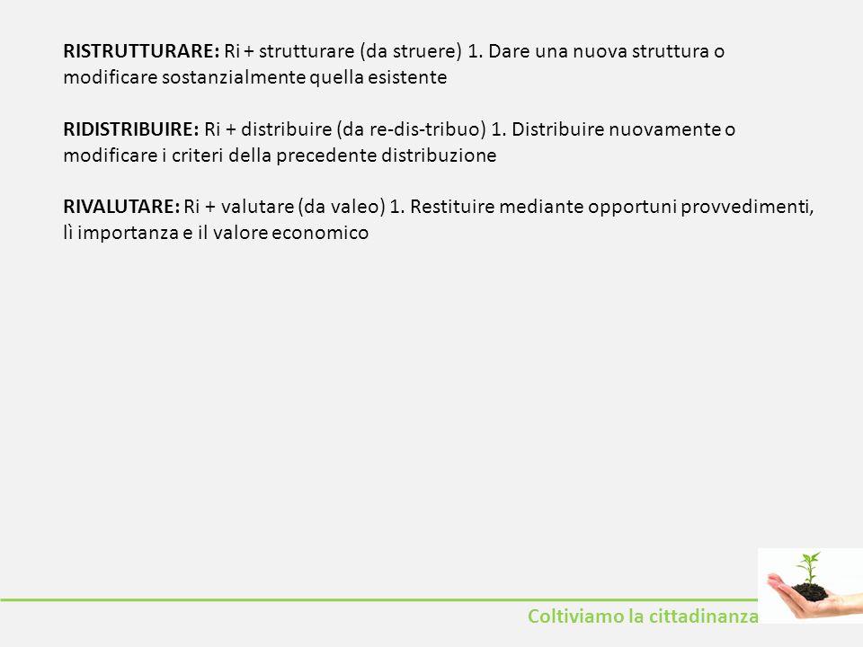 RISTRUTTURARE: Ri + strutturare (da struere) 1