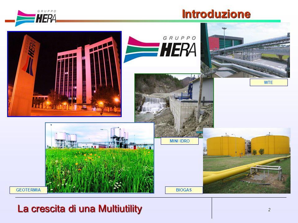 Introduzione La crescita di una Multiutility WTE MINI IDRO GEOTERMIA