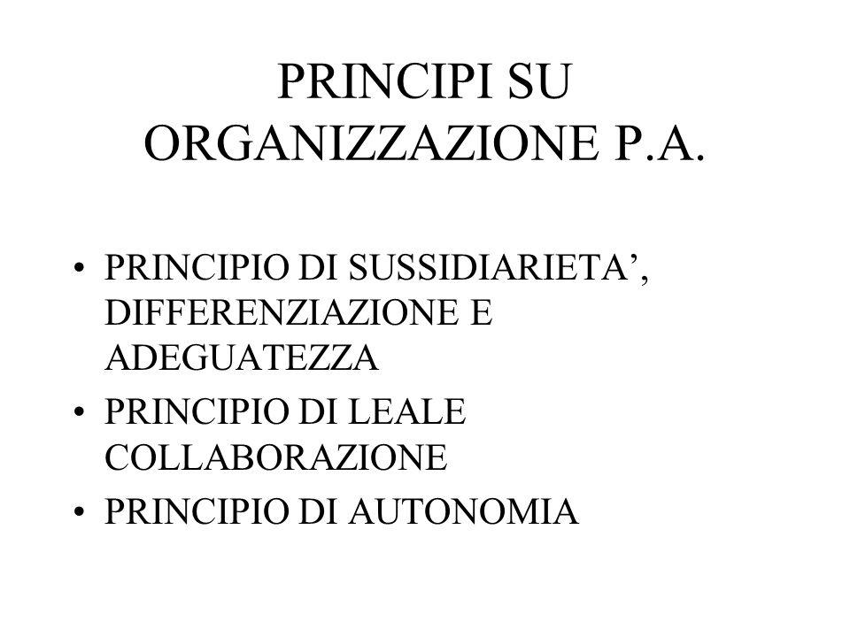PRINCIPI SU ORGANIZZAZIONE P.A.