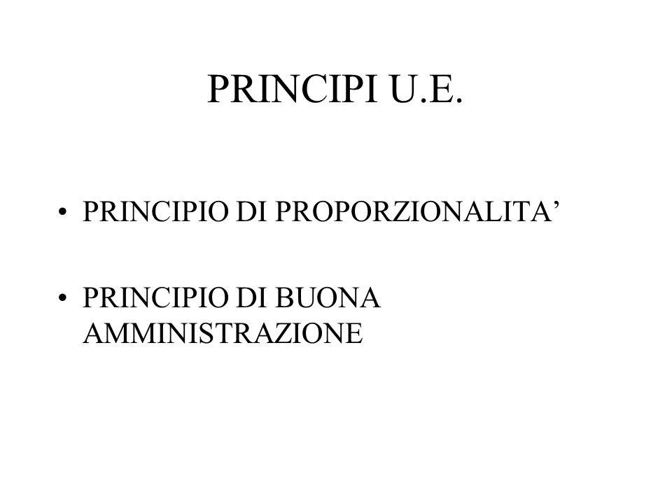 PRINCIPI U.E. PRINCIPIO DI PROPORZIONALITA'