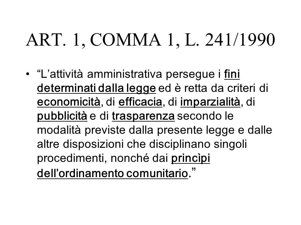 ART. 1, COMMA 1, L. 241/1990