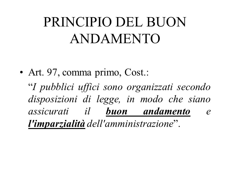 PRINCIPIO DEL BUON ANDAMENTO